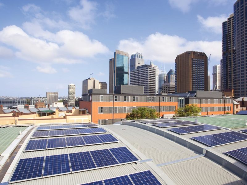 Solar panel array on a city building installation